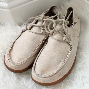 Olukai Ohana Sneaker Twill cream lace up shoe